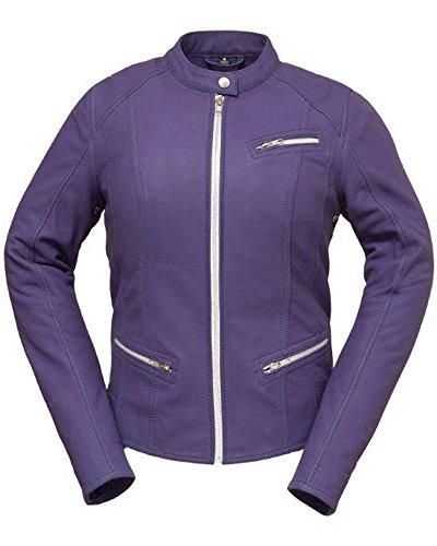 Fashionista Ladies Biker Jacket in Black or Purple Cowhide
