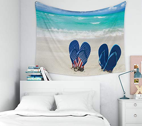Musesh Tapestry Wall Hanging, Polyster Tapestry Wall Hanging for Bedroom Living Room Decor Inhouse Patriotic USA Background Flip Flops Decorations The Sandy Beach 80x60 Inches Size