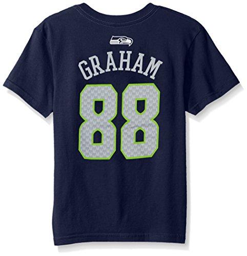 NFL Boys 4-7 Jimmy Graham Seattle Seahawks Mainliner Name & Number Short Sleeve Tee, Large/(7), Dark Navy
