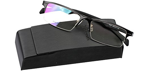 bb978bac86 SOOLALA Mens Lightweight Aluminum Magnesium Optical Quality Semi-rimless  Reading Glasses