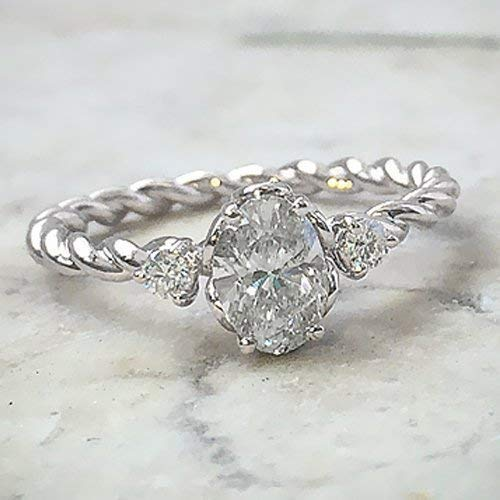 Oval Cut Moissanite Engagement Ring 14k White Gold Palladium Platinum Twist Shank Handmade Diamond Ring Anniversary Ring Forever One