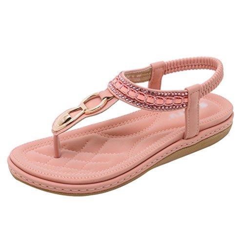 YOUJIAA Sandales de Bohême Femme, Tong en PU Cuir Strass Fleur Chaussures de Ville Été à Talons Plats Style #6 Pink