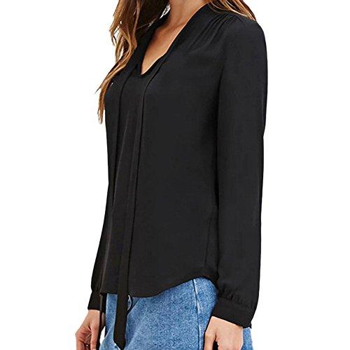 Scothen Señoras de encaje botón casual con cuello en V sueltos mujeres blusa de gasa ocasionales de la gasa con cuello en V manga larga blusa de verano cimas puños de la camiseta de manga corta Black