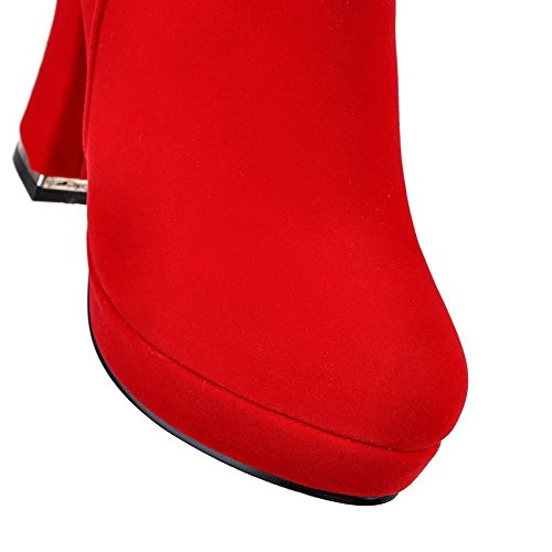 AllhqFashion Mujer Sintético Sólido Caña Alta Puntera Redonda Botas Rojo-Cadenas