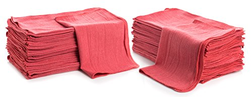 "Cleaning Solutions Shop Towels (Pack of 50) 12"" X 14"" Reusable Cotton Towels - Perfect for Cleaning, Mechanic, Auto and Home. Commercial Grade Shop Rags (Red)"