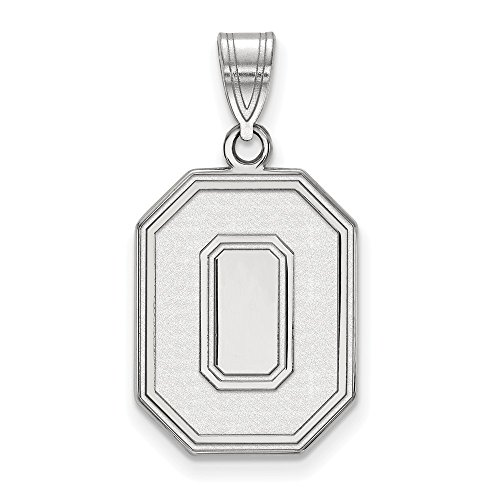 14k White Gold LogoArt Official Licensed Collegiate Ohio State University (OSU) Large Pendant by Logo Art