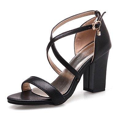 LvYuan Tacón Robusto-Talón Descubierto Gladiador Zapatos del club-Sandalias-Vestido Informal Fiesta y Noche-Semicuero-Negro Rosa Plata Oro Silver