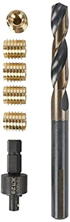 EZ LOK 400-M6 Threaded Inserts for Wood, Installation Kit, Brass, Includes  M6-1 0 Knife Thread Inserts (6), Drill, Installation Tool