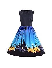 Pervobs Women's Vintage Sleeveless Halloween Print Flowy Party Swing Pleated Dress