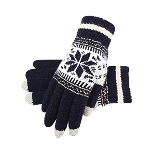 [해외]LuluZanm Christmas Snow Print Gloves for Women MenUniWinter Wool Plus Velvet Gloves Outdoor Thickening Mittens / LuluZanm Christmas Snow Print Gloves for Women Men,UniWinter Wool Plus Velvet Gloves Outdoor Thickening Mittens