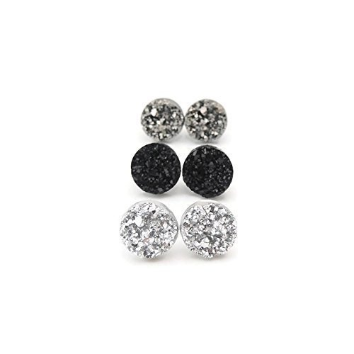 Black Posts Gunmetal (Silver-Tone, Gunmetal and Black, 12mm Faux Druzy Plastic Post Earrings for Metal Sensitive Ears)