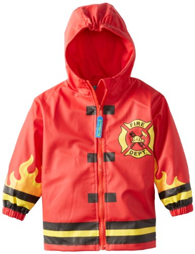 Stephen Joseph Toddler Little Boys' Monkey Rain Coat, Fire Truck, ()