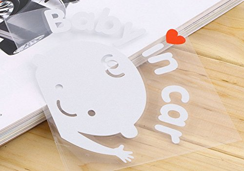 1 Pcs Convincing Unique Baby In Car Window Sticker Sign on Board Waving Decal Logo Room Patches Macbook Laptop Home Art Wall Mac Apple Decor Family Vinyl Funny Kids Stickers Boy Style Color White