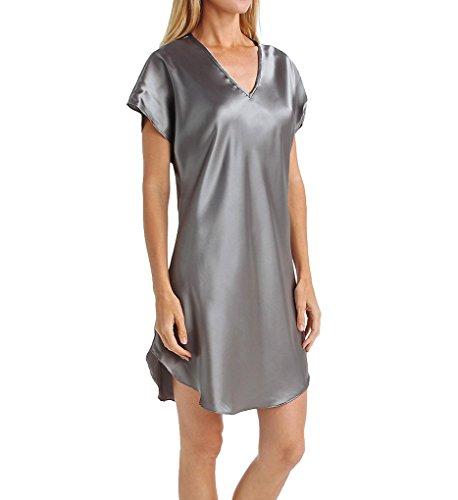 Amanda Rich Bias Cut Satin T-Shirt Gown (412-40) XL/Charcoal