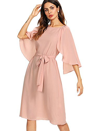- Milumia Women's Cap Sleeve Self Belted Fit and Flare Dress Summer Dress Pink XS