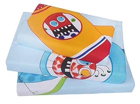 J-pinno 3 Piece Boys & Girls Space Rocket Planet Printed Twin Sheet Set, 100% Cotton, Flat Sheet Plus Fitted Sheet + Pillowcase Bedding (Rocket Twin Bedding)
