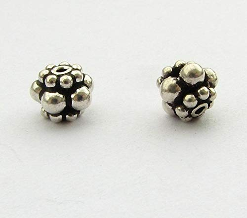 World's Natural Treasures - Antiqued Barrel Spacer Beads Bali Sterling Silver Spacer Beads 5mm x 7mm (4 Beads) - Huge Selection of Beading -