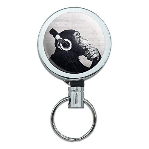 Headphone Chimp Monkey Wall Heavy Duty Metal Retractable Reel ID Badge Key Card Tag Holder with Belt Clip ()