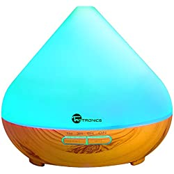 Essential Oil Diffuser, TaoTronics 300ml Aromatherapy Diffuser with Wood Grain, Zen Style, Cool Mist and 7 Colors ( Ultrasonic Aroma Humidifier, Low Water Auto Shut-off, Up to 6 Hours Timer)