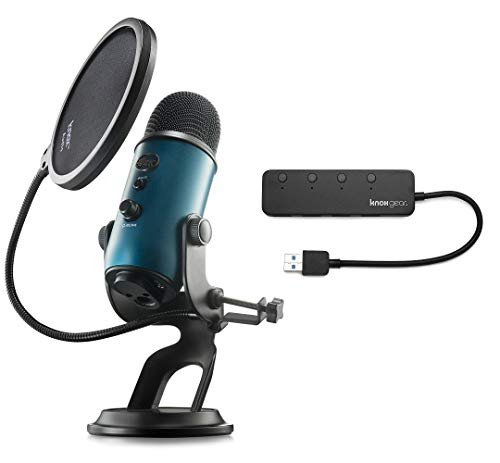 Blue Microphones Yeti Teal USB Microphone with Knox Gear USB Hub and Knox Pop Filter Bundle (3 Items)