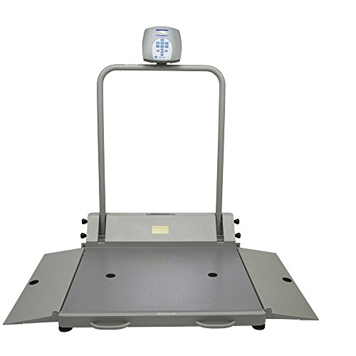 (Health O Meter 2610KL Digital Wheelchair Dual Ramp Scale with Folding Ramps, Capacity 1000 lbs, Resolution 0.2 lb, 32-1/4