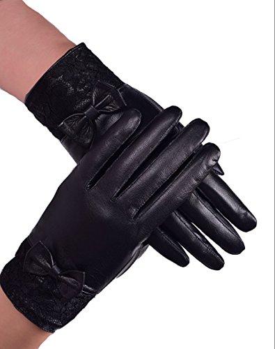 Women's Genuine Leather Gloves, Italian Lambskin, Black, S/M/L/XL (9