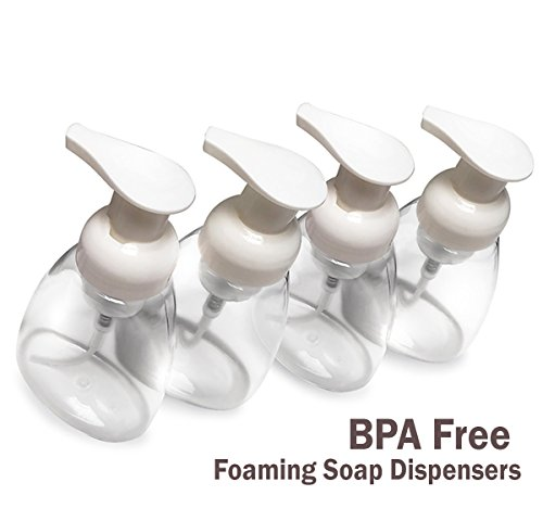 Foaming Soap Dispenser Refillable Foam Hand Pump Empty Bottles Container for Castile Liquid Soap BPA Free Plastic (10 oz) - 4 Pack 4 SAVE ON SOAP - Our BPA Free 10 Oz ( 300ml ) plastic foamer soap dispensers dispense soap as a rich lather, so you can use less to get the same cleaning benefits; Plus, our soap dispenser lets you purchase bulk refills of soap, which are much less expensive than individual bottles IDEAL FOR ALL TYPES OF SOAP - You can use our foaming hand soap dispenser as a Castile liquid soap container or for any other variety of liquid hand soap that you wish, such as Dr. Bronners liquid soap, etc. PERFECTLY SIZED - Our foam soap dispenser are reusable and holds up to 10 ounces of liquid soap, so you won't have to frequently refill the bottles