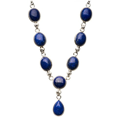 Lapis Lazuli Locket (StarGems(tm) Natural Lapis Lazuli 925 Sterling Silver Y-Shaped Necklace 19