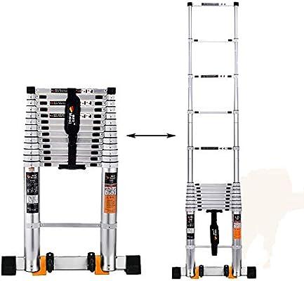 Erru Escalera Telescópica- Escalera Blanca con Ruedas, Extensión Blanca Plateada, Escalera Recta Plegable Resistente para Uso Industrial, Aleación De Aluminio (Size : 4.1m/13.5ft): Amazon.es: Hogar