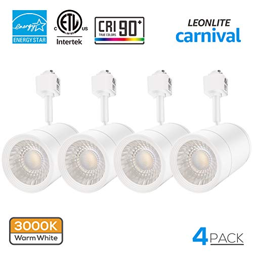 4 Pack 17.5W (85W Equiv.) Integrated CRI90+ LED White Track Light Head, Dimmable 38°Beam Track Lighting, 1200lm Energy Star ETL-Listed for Accent Task Wall Art Exhibition, 3000K Warm White