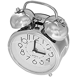 Alarm Clocks - Classic Retro Mute Quartz Double Bell Alarm Clock Movement Bedside With Night Light And Loud Silver - Away Manual Choose Changing Sleepers Kitty Low Rose Old Style