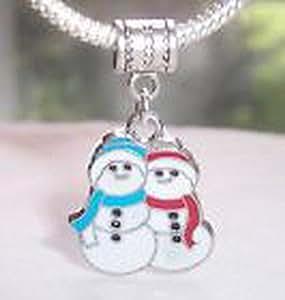 Blazers Jewelry 1985 Snowman Snowmen Christmas Holiday Dangle Bead for Silver European Charm Bracelet