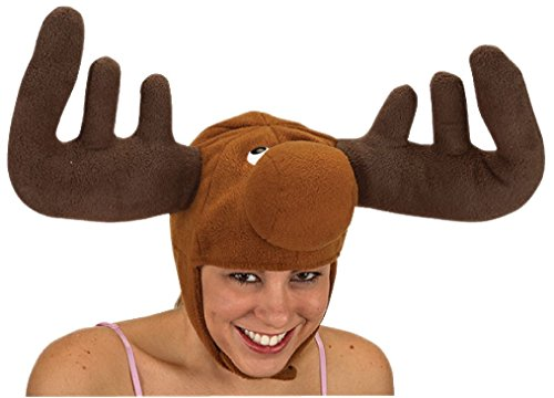 OvedcRay Moose Hat Elk Deer Reindeer Bullwinkle W/ Horns Antlers Animal Costume Hat Cap ()
