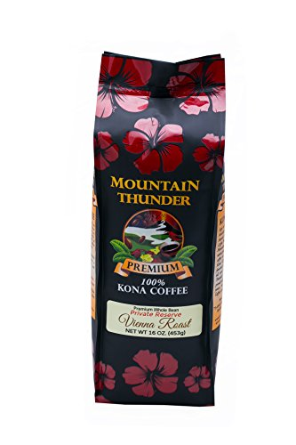 100% Kona Coffee - Private Reserve - Whole Bean - Vienna Roast - 16 Ounce Bag - by Mountain Thunder Coffee Plantation