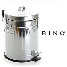 BINO Stainless Steel 1.3 Gallon / 5 Liter Round Step Trash Can, Galvanized Steel