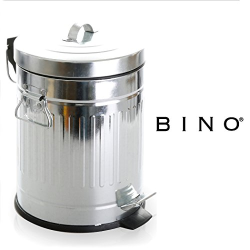 BINO Stainless Steel 1.3 Gallon / 5 Liter Round Oscar Step Trash Can, Galvanized Steel