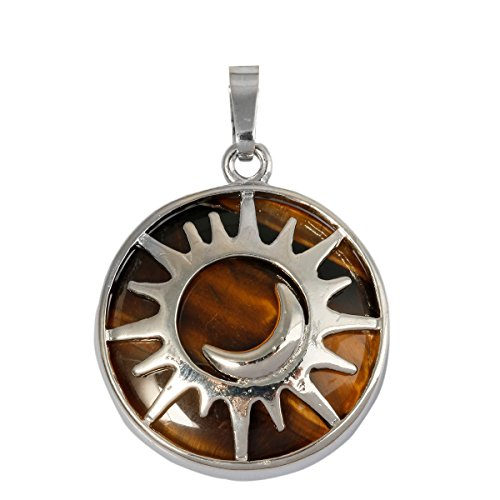 Amulet Tiger Eye (SUNYIK Round Moon and Sun Amulet Pendant Necklaces for Women, Tiger's Eye Stone)