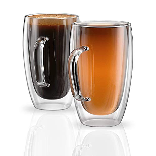 Large Coffee Cups 15oz - Set of 2 Drinking Glasses - Double Insulated Wall Glass - Perfect for Latte Cappuccino Espresso and Tea ()
