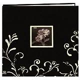 Pioneer Scroll Embroidery Fabric Post Bound Album 12x12-Black W/White