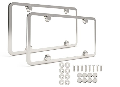 License Plate Frame   Set Of 2 High End Mirror Polished 4 Hole 304 Grade Stainless Steel Frames   Stainless Steel Theft Proof Screw Caps   Slim Bracket   Premium Gift Box