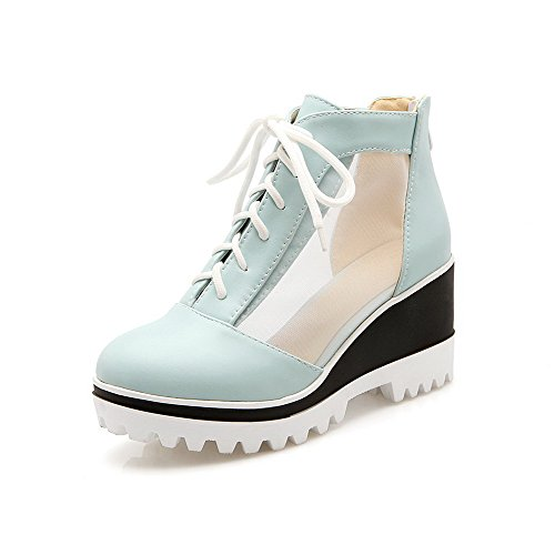 VogueZone009 Women's Solid Blend Materials High Heels Round Closed Toe Zipper Pumps-Shoes Blue 2HO2DjWR