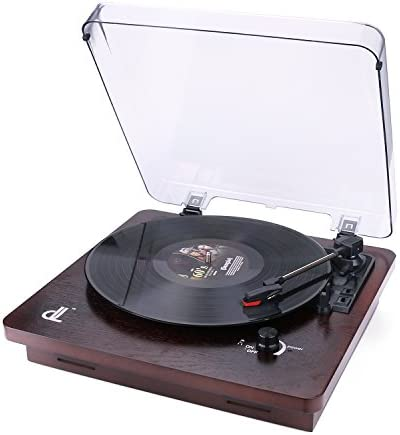 Vinyl Record Player, Vintage Phonograph Turntable with Built-in Stereo Speakers Support PC Recording,RCA Output,Wood
