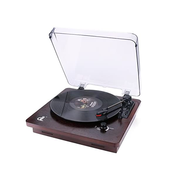 Deck Vinyl Record Player,dl Vintage Turntable Buit in 2x1W Stereo Speakers, Aux in,Line Out,PC Encording Record Player 3