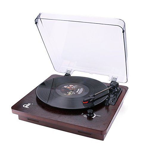 D&L 3-Speed Record Player with Built-in Stereo Speakers, Vintage Phonograph Turntable Support PC Recording, Pitch Control and RCA Output,Wood