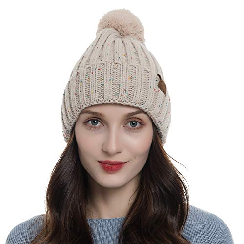Diravo Womens Winter Warm Beanie Pompoms Ski Cap Thick Fleece Lined Rib Knit Skull Hats