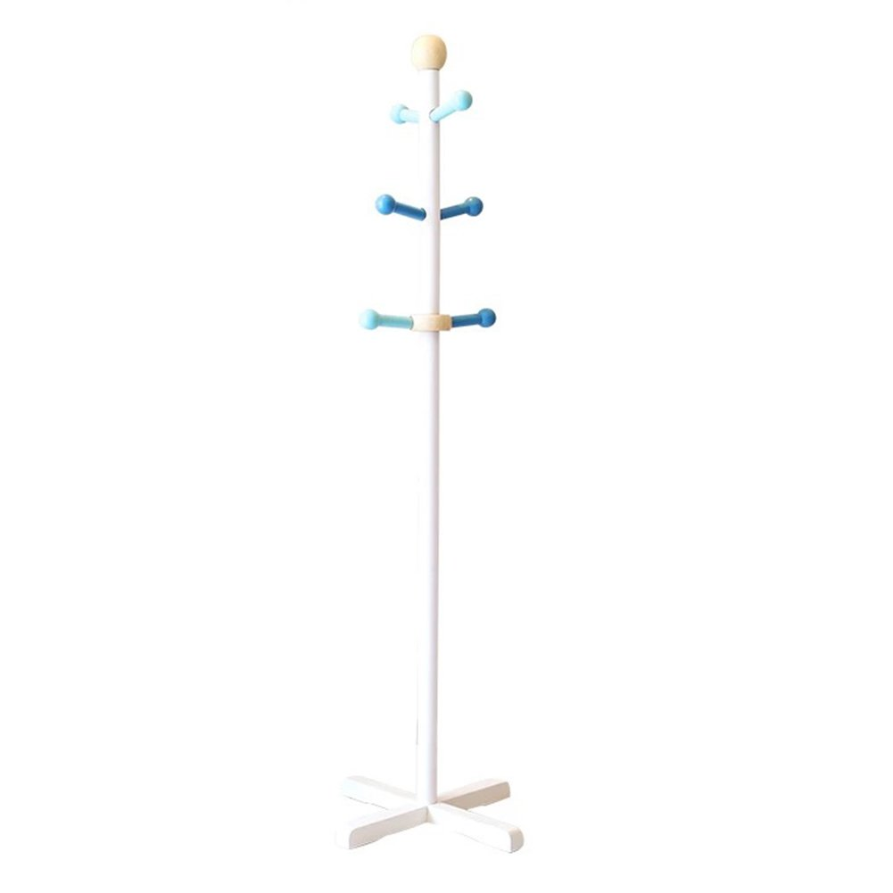 JIANFEI Floor-Standing Coat Rack Hat Stand Hanger Lovely Central Hook Up Rotatable Cross Chassis, Wood, 40 133cm (Color : White)