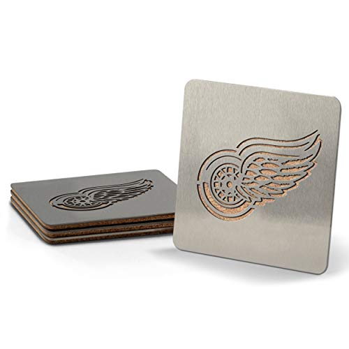 NHL Detroit Red Wings Boaster Stainless Steel Coaster Set of - Wings Detroit Red Laser