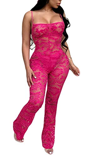 Chemenwin Women's Sexy Sleeveless Spaghetti Strap Floral Lace Long Pants Bodycon Clubwear Jumpsuit Rompers (Small, Rose)