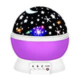 2-10 Year Old Girls Gifts, Ouwen Star Rotating Night Light for Kids Christmas Best Top Fun Gifts for Girls Age 2-8 Toys Girls Age 3-12 Purple Stocking Fillers OWUSNL02 OuWen