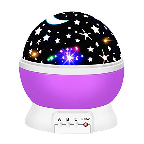 2-10 Year Old Girls Gifts, Ouwen Star Rotating Night Light for Kids Christmas Best Top Fun Gifts for Girls Age 2-8 Toys Girls Age 3-12 Purple Stocking Fillers OWUSNL02
